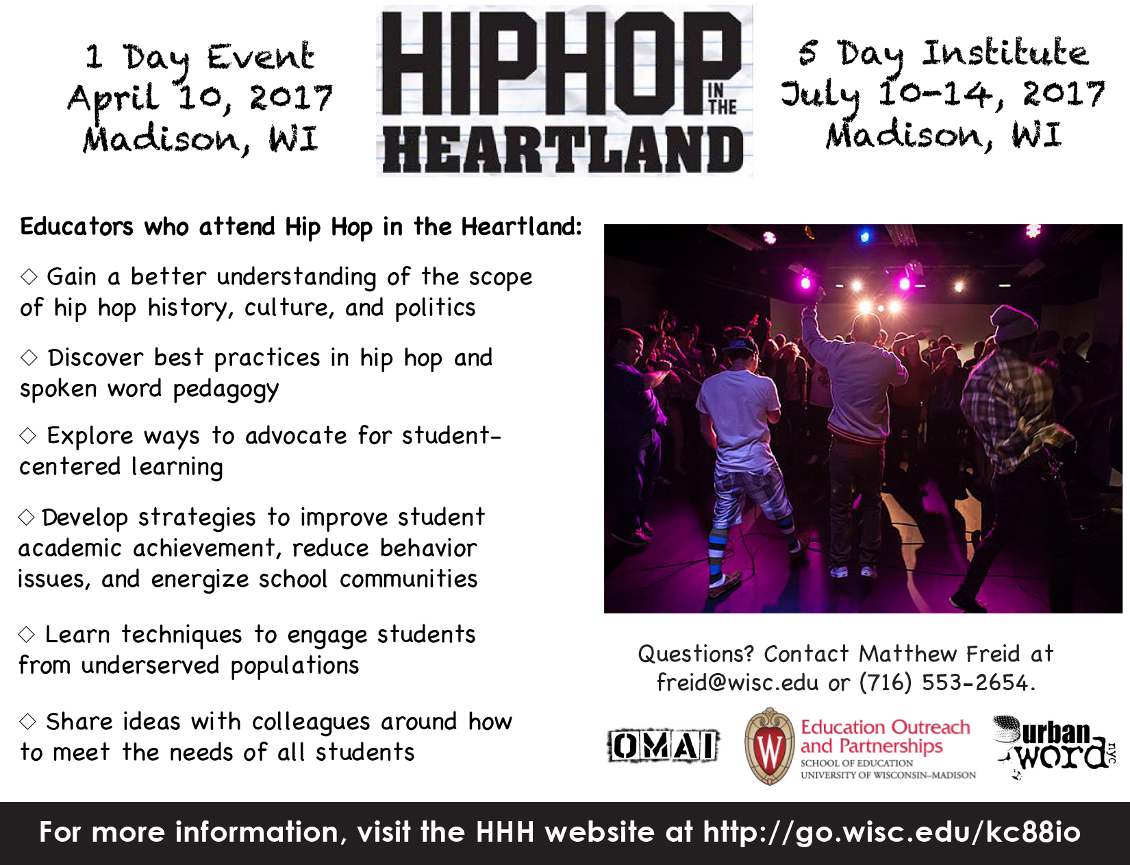Hip Hop in the Heartland Spring 2017 Promotional Material